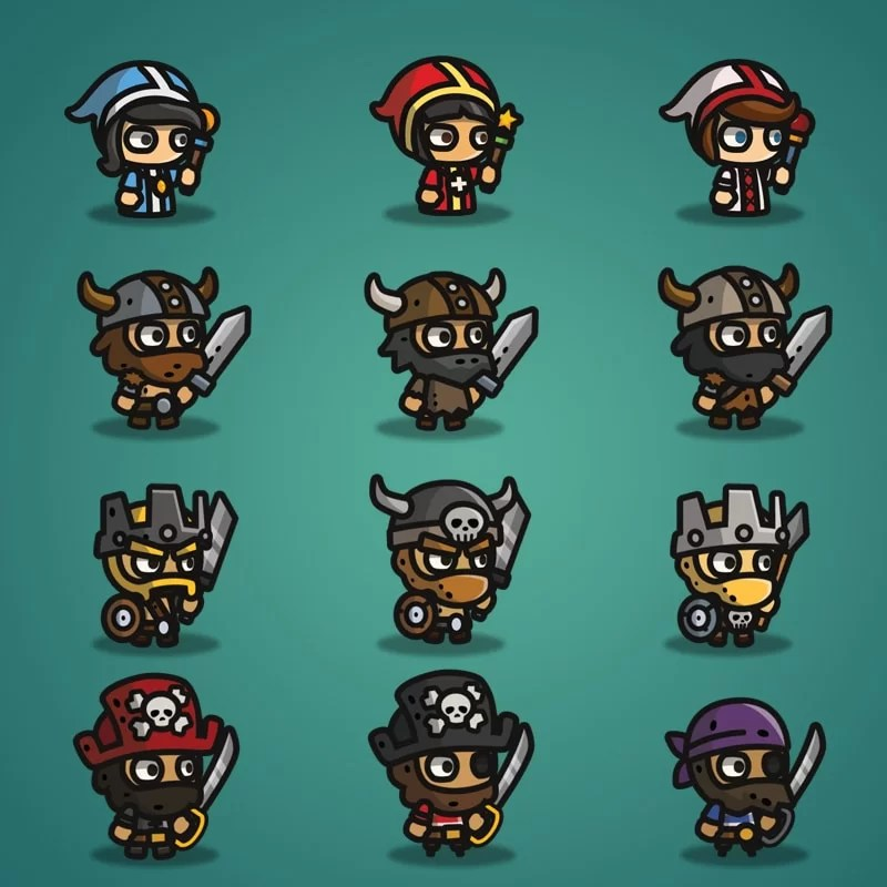 Super Tiny Bundle - 2D Character Sprite - Priest - Viking - Barbarian - Pirate