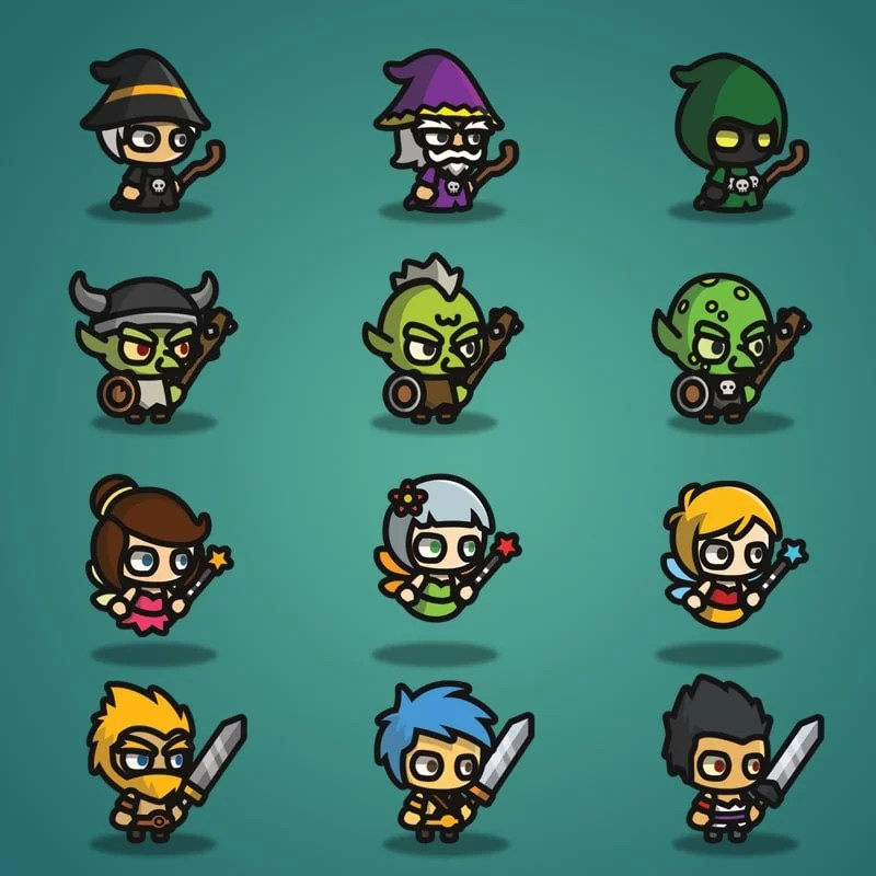Super Tiny Bundle - 2D Character Sprite - Wizard - Goblin - Fairy - Warrior