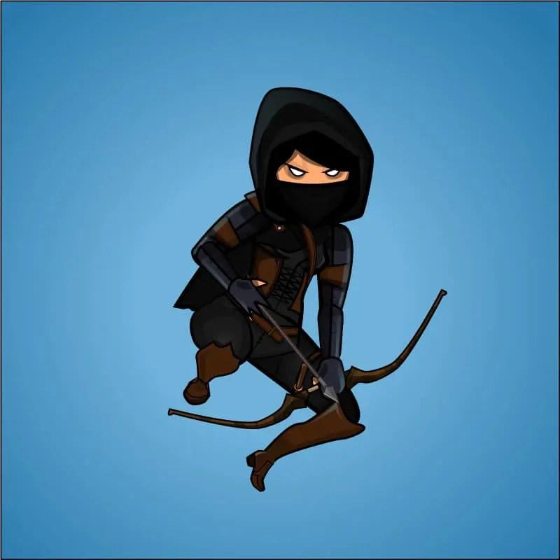 Female Dark Thief Game Character Sprite