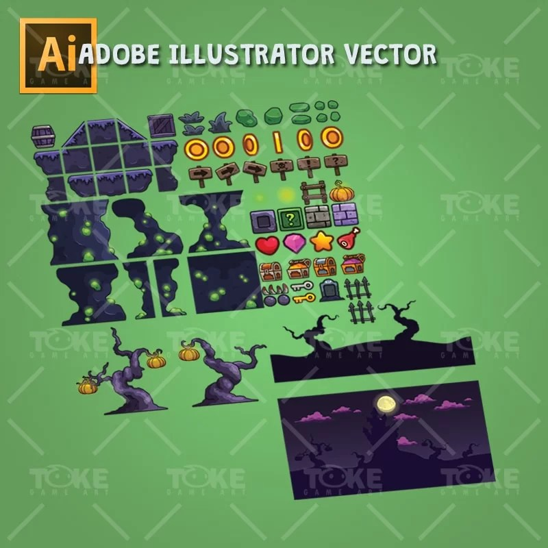 Cartoon Spooky Level Set - Adobe Illustrator Vector Art Based