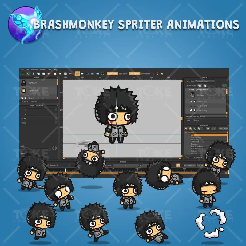 Gray Shirt Shinobi Guy - Brashmonkey Spriter Character Animation
