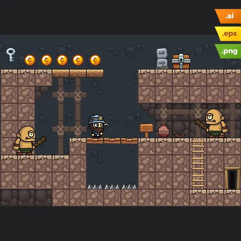 Mine Platformer Tileset - 2D Game Level Set
