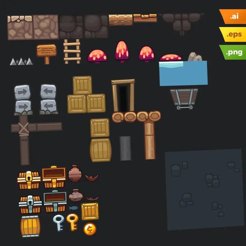 Mine Platformer Tileset - Vector Art Based Game Tileset