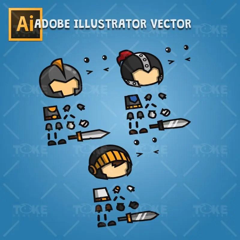 Mini Knight Character Pack - Adobe Illustrator Vector Art Based
