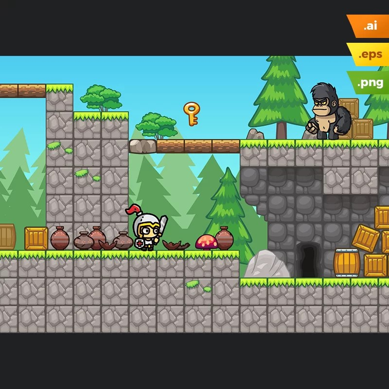 Pine Hills Platformer Tileset - 2D Side Sccrolling Game Level Set