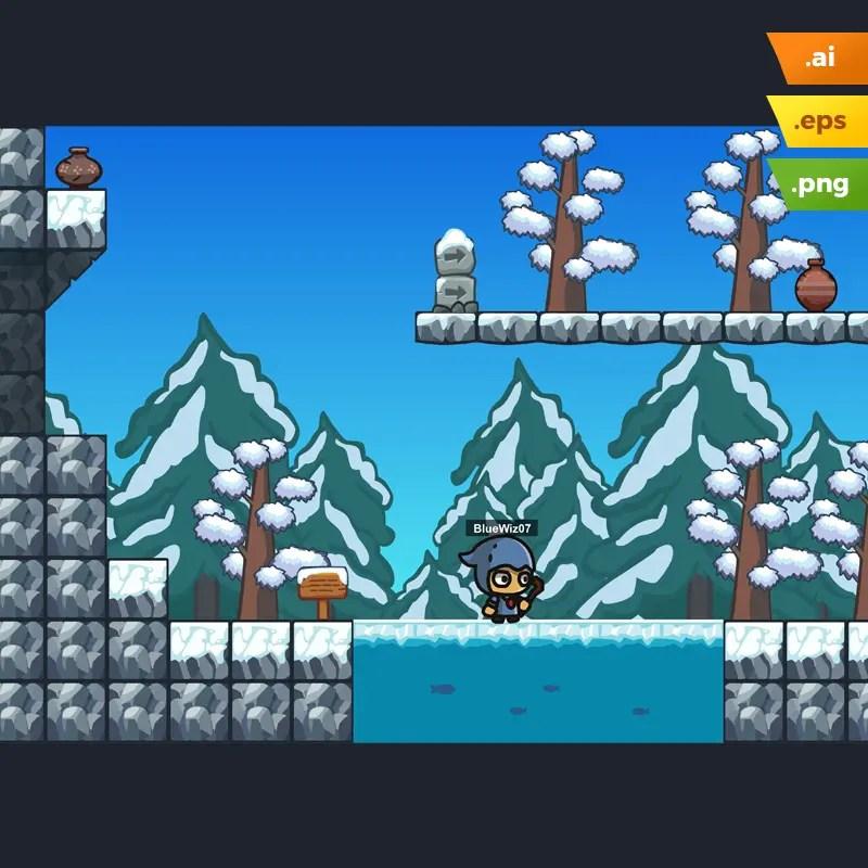 Snow Platformer Tileset - 2D Game Level Set