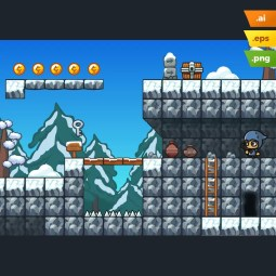 Snow Platformer Tileset - Cartoon Styled 2D Game Tileset