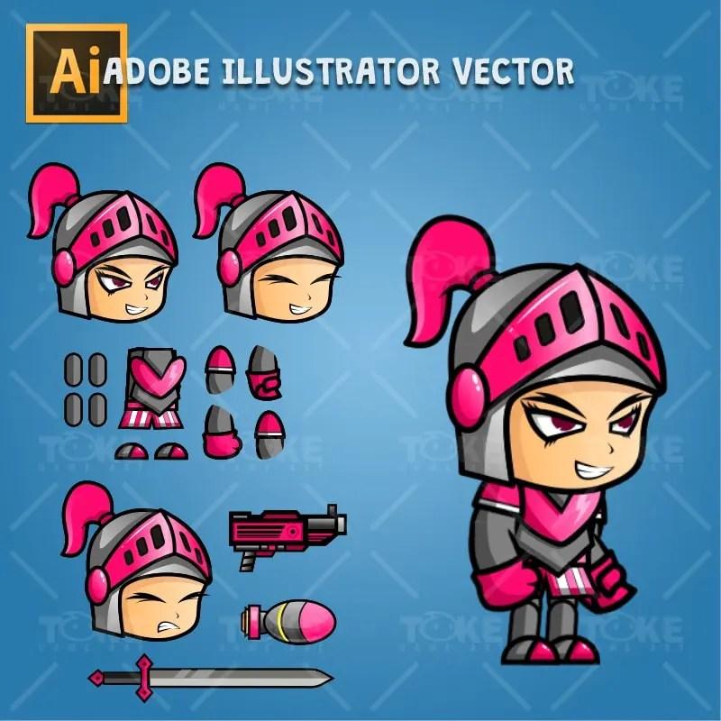 Girl Knight Game Character Sprite - Adobe Illustrator Vector Art Based Character
