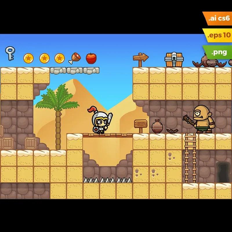 Desert Platformer Tileset - 2D Game Asset
