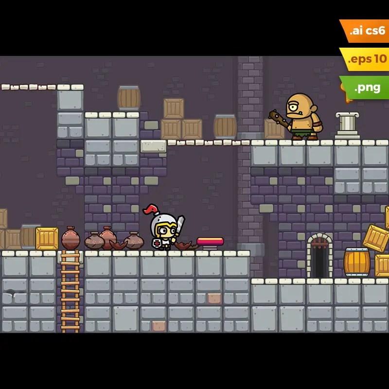 Dungeon Platformer Tileset - 2D Game Asset for Indie Game Developer