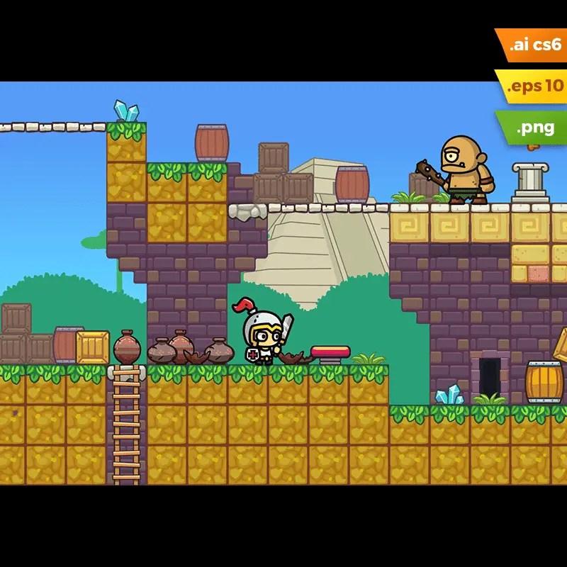 Mayan Temple Platformer Tileset - 2D Knight Journey Game