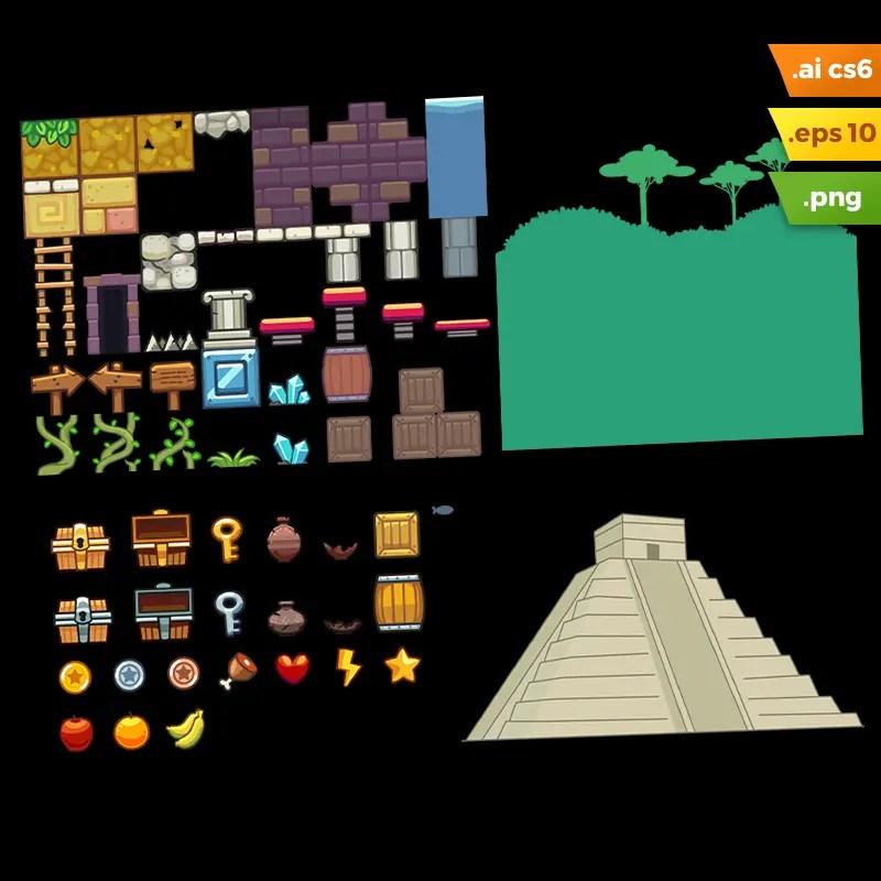 Mayan Temple Platformer Tileset - Vector Art Based Game Tileset