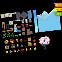 Sakura Garden Platformer Tileset - Adobe Illustrator Vector Art Game Level Set