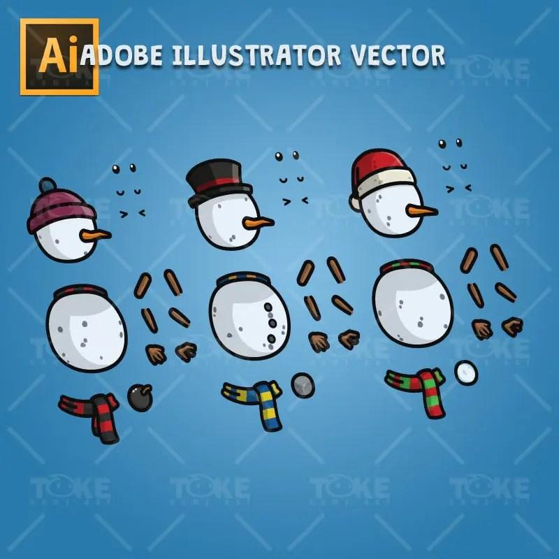 Snowman Character Pack - Adobe Illustrator Vector Art Based Character