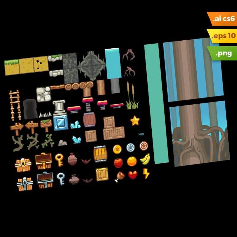 Swamp Platformer Tileset - Adobe Illustrator Vector Art Based Game Level Set