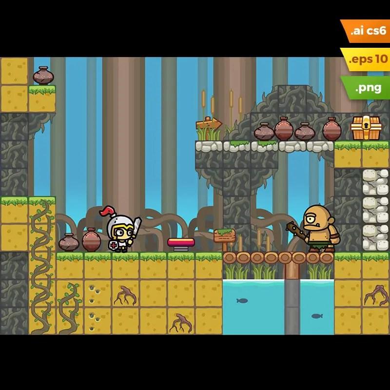 Swamp Platformer Tileset - Royalty Free Game Art