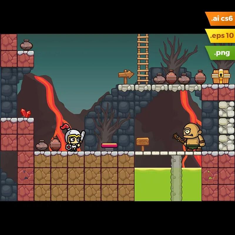 Volcano Area Platformer Tileset - 2D Side Scrolling Game