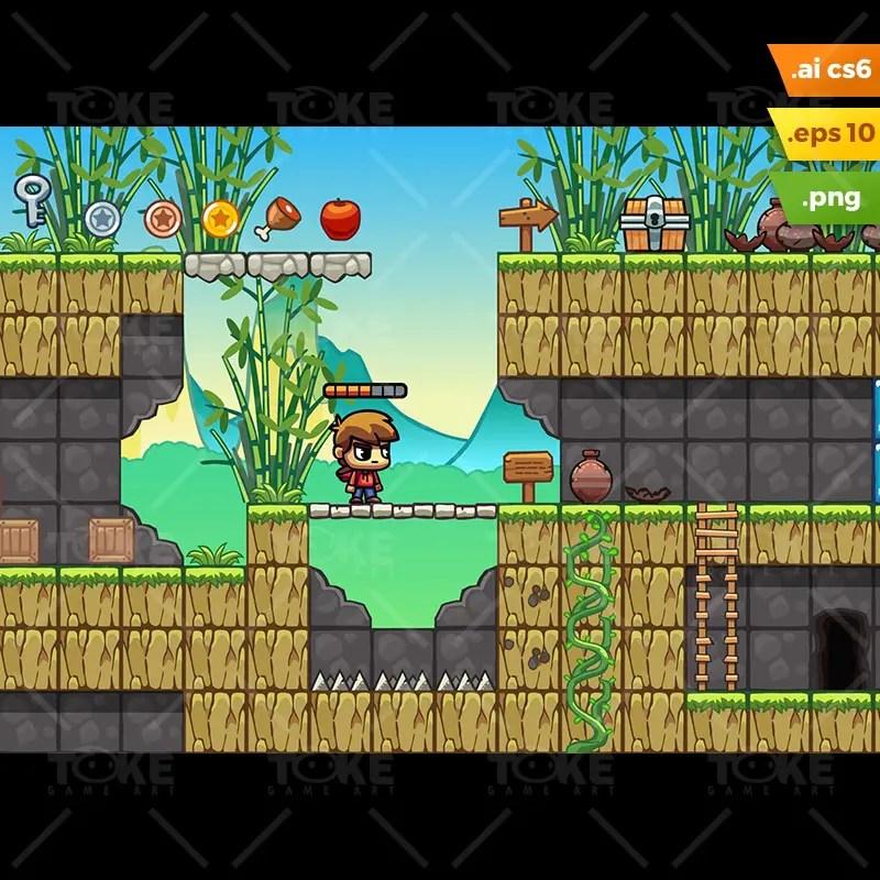 Bamboo Mountain Platformer Tileset - 2D Game Asset for Indie Game Developer