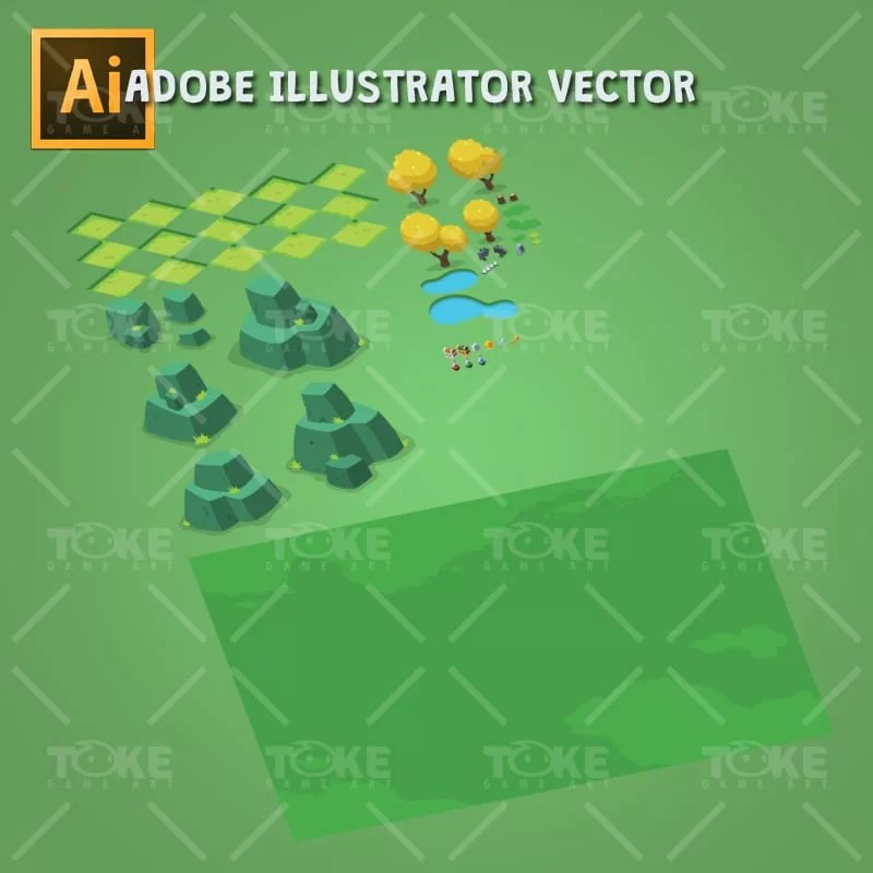 Isometric Forest Tileset - Adobe Illustrator Vector Art Based