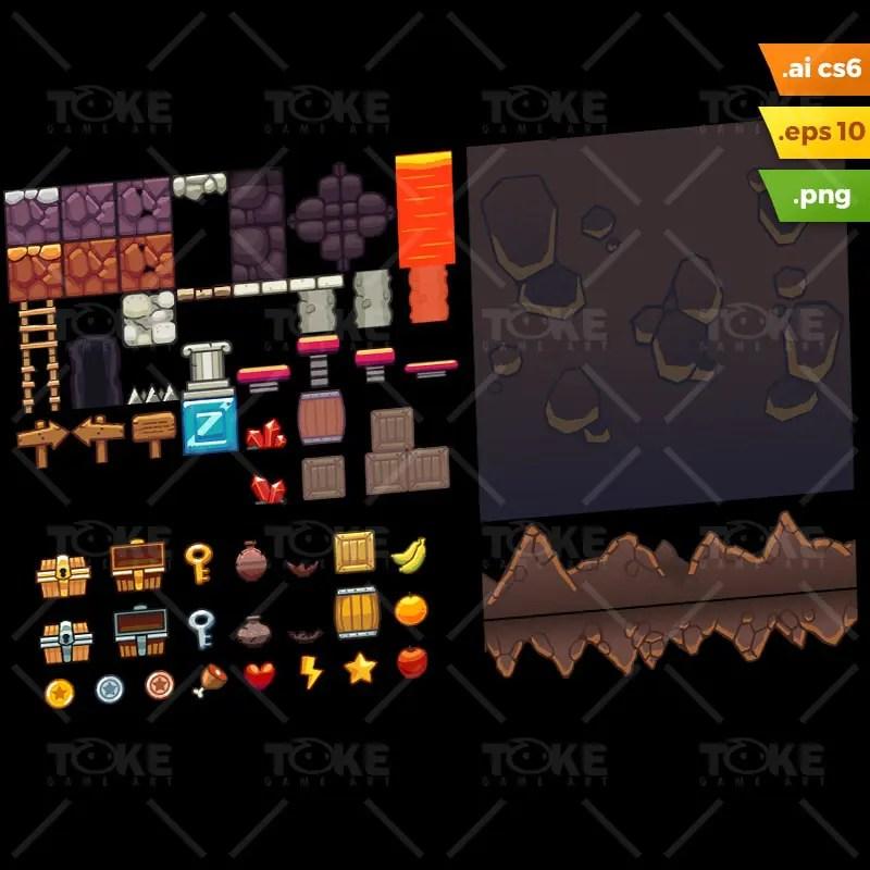 Lava Cave Platformer Tileset - Adobe Illustrator Vector Art Based