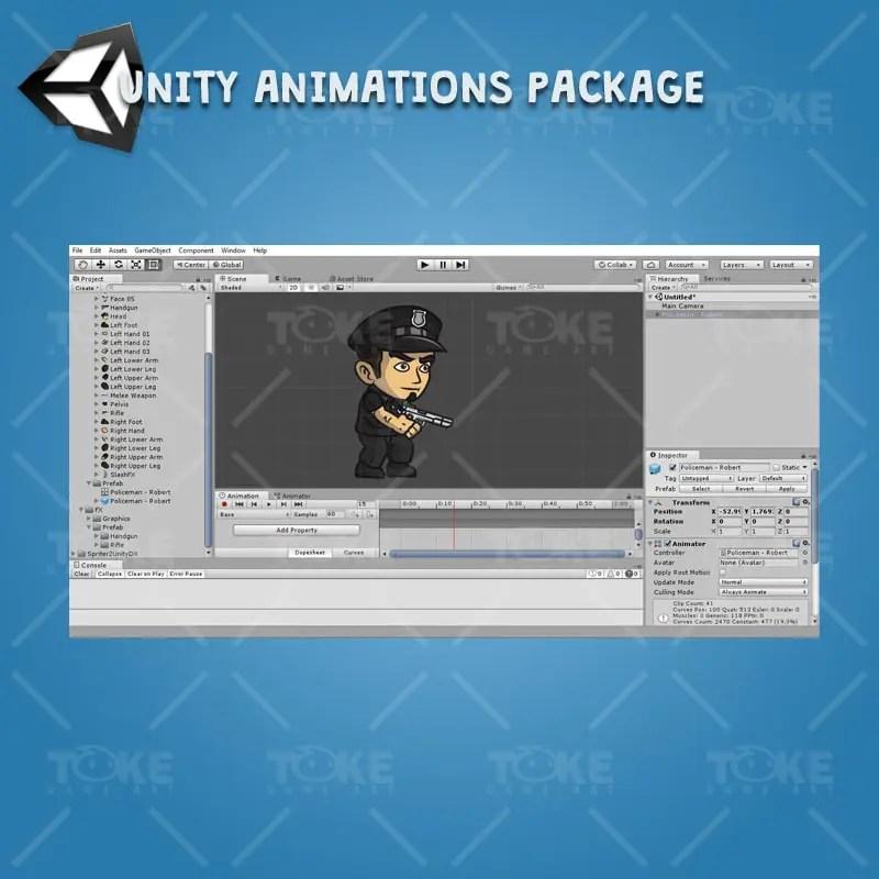 Policeman - Robert - Unity Animation Ready with Spriter2UnityDX Tool