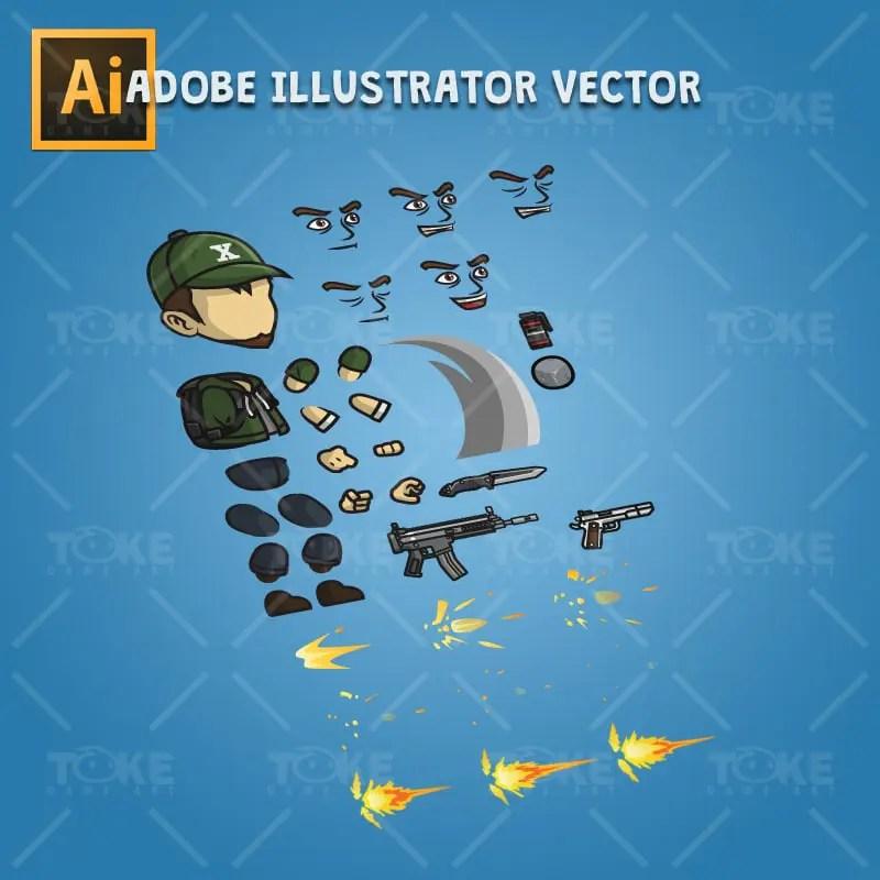 Urban Army Squad - Hat Guy - Adobe Illustrator Vector Art Based Character