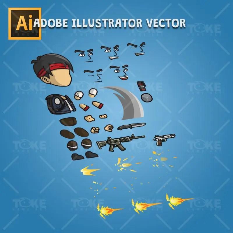 Urban Army Squad - Red Headband - Adobe Illustrator Vector Art Based Character