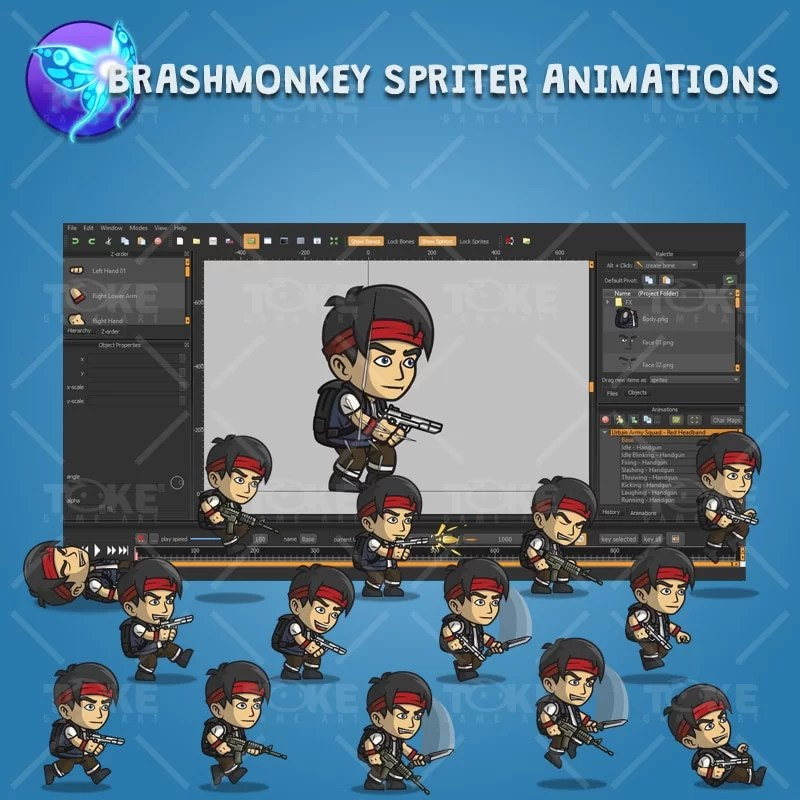Urban Army Squad - Red Headband - Brashmonkey Spriter Character Animation