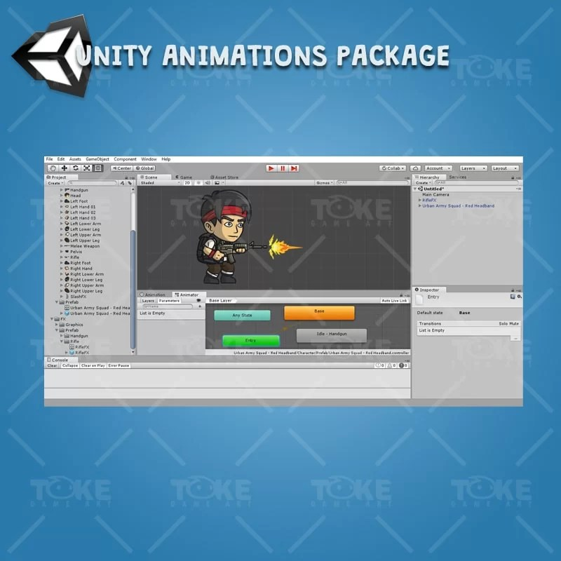Urban Army Squad - Red Headband - Unity 2D Character Animation with Spriter2UnityDX Tool