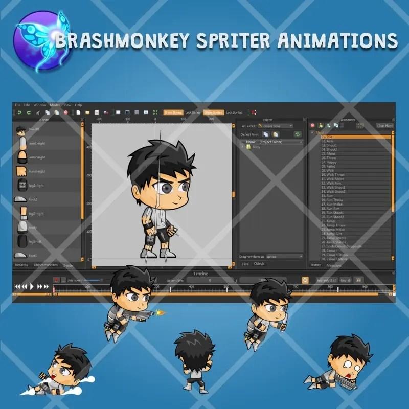 Nanz - 2D Boy Game Character Sprite - Brashmonkey Spriter Character Animation