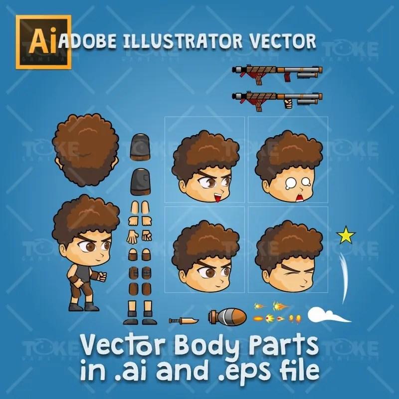 Hardy - Boy 2D Game Character Sprite - Adobe Illustrator Vector Art Based
