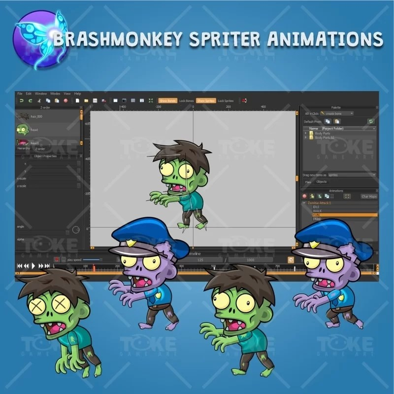 Zombie Pack 2D Game Character Sprite - Brashmonkey Spriter Character Animation