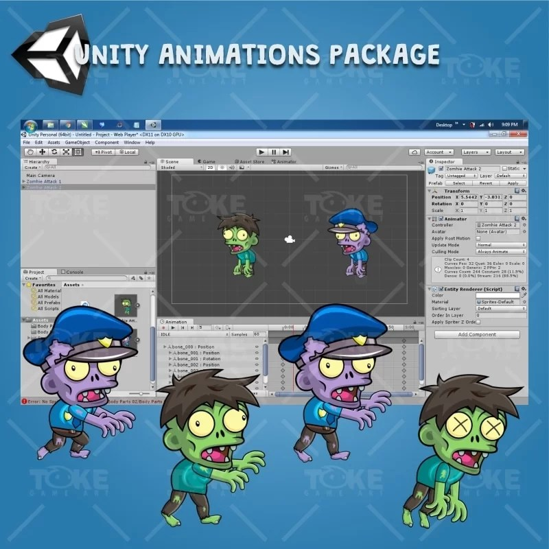 Zombie Pack 2D Game Character Sprite - Unity Animation Ready