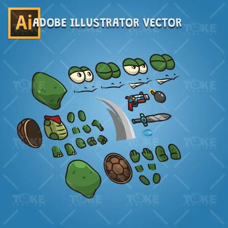 Cute Turtle - Adobe Illustrator Vector Art Based Character
