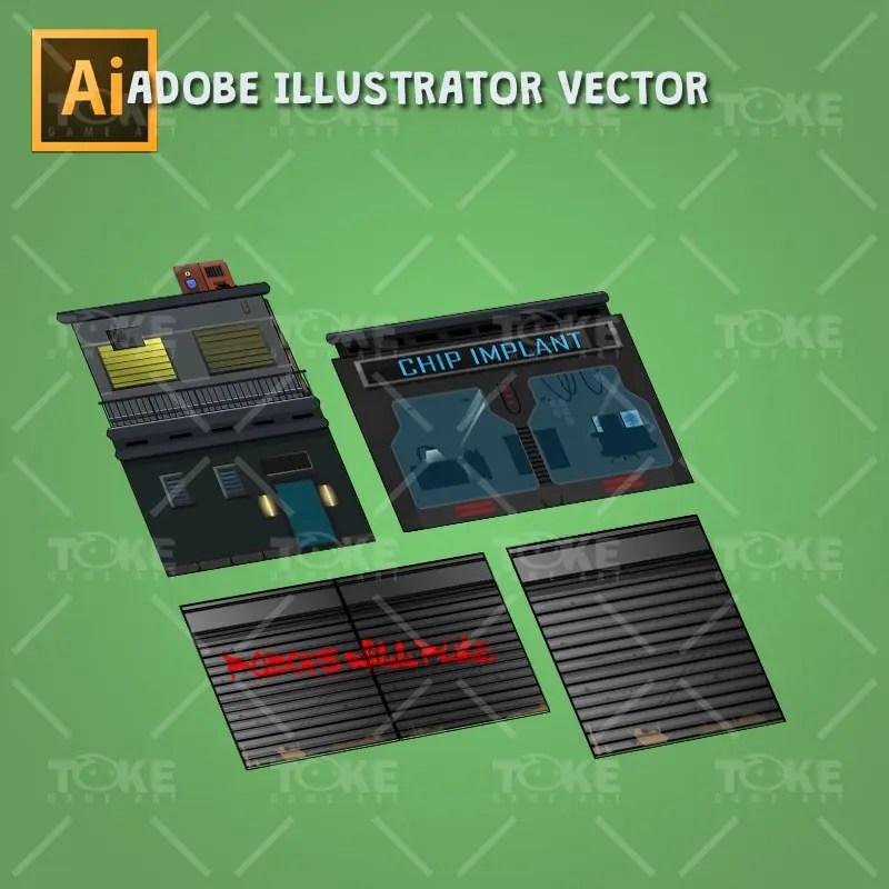 Cyberpunk Platformer Tileset - Pre Made Structure