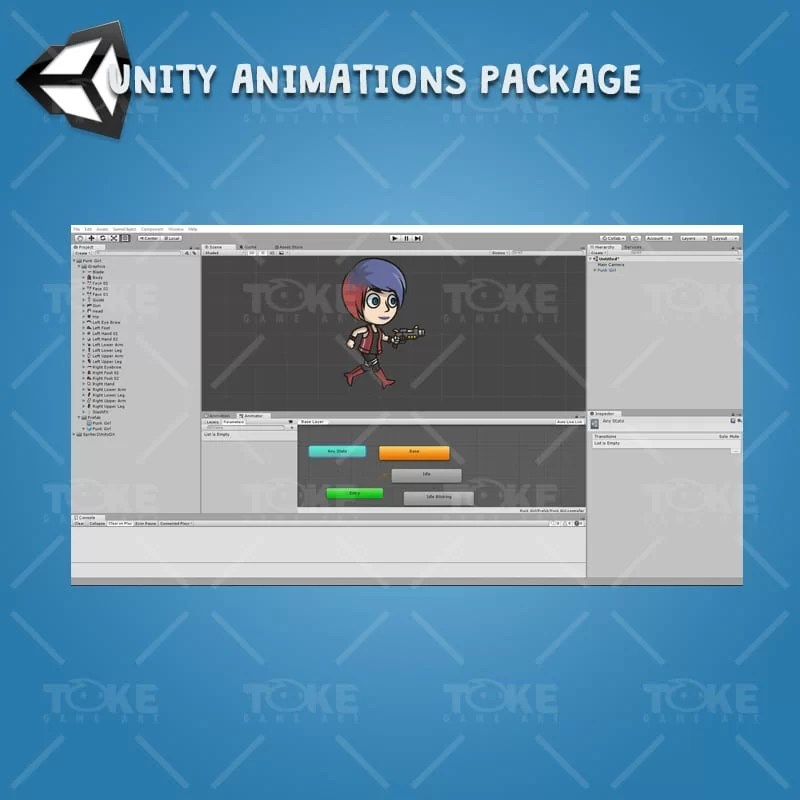 Punk Girl - Unity Character Animation Ready with Spriter2UnityDX Tool