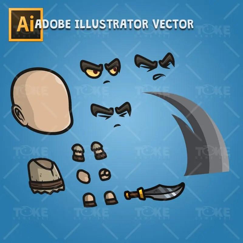 Evil Bald Guy - Adobe Illustrator Vector Art Based Character Body Part