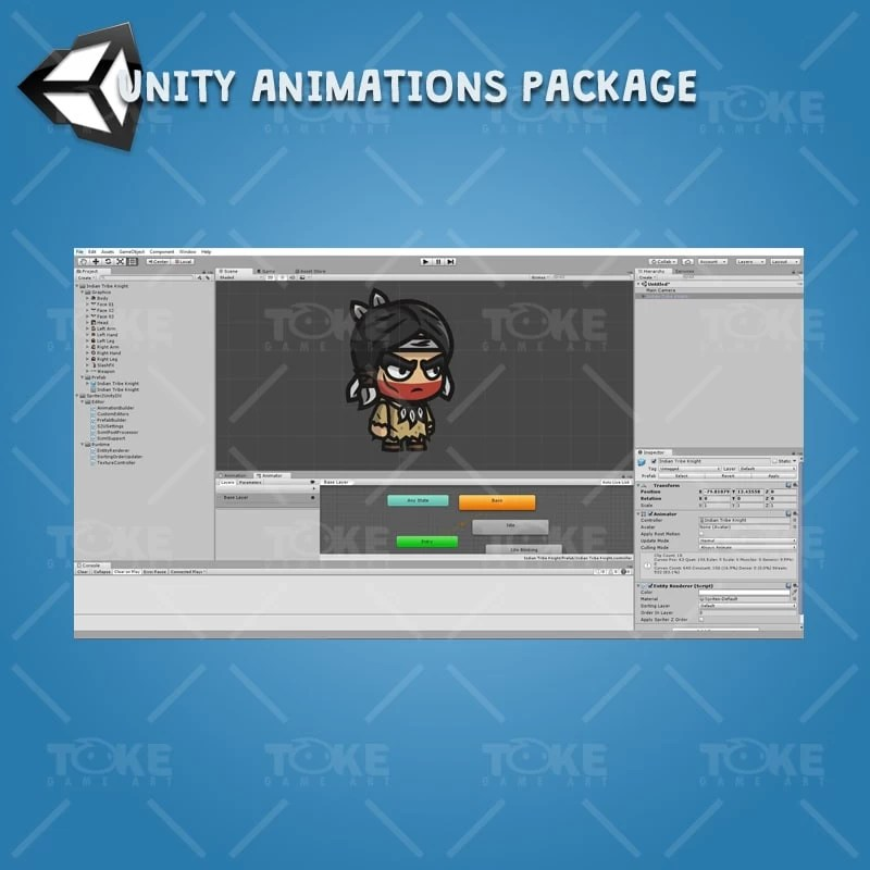 Indian Tribe Knight - Unity Character Animation Ready with Spriter2UnityDX Tool