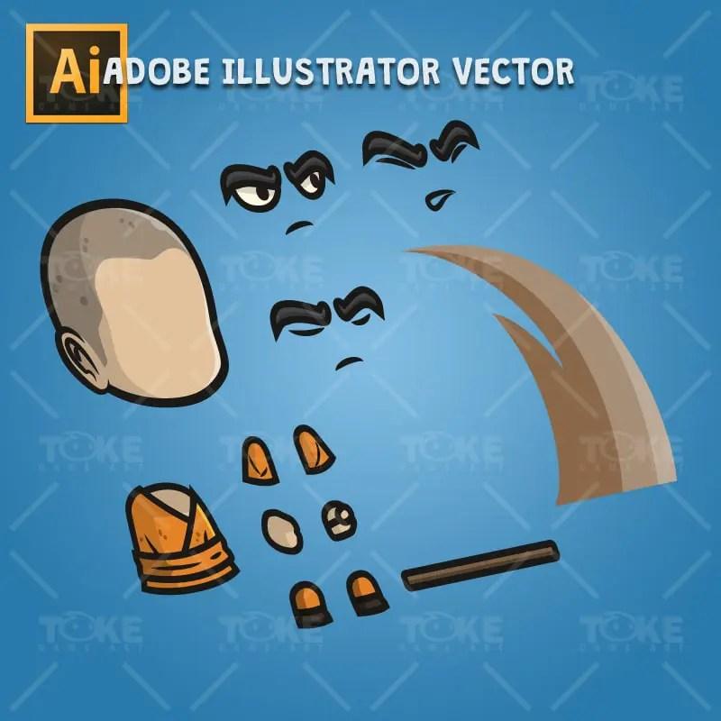 Monk Guy - Adobe Illustrator Vector Art Based Character Body Parts