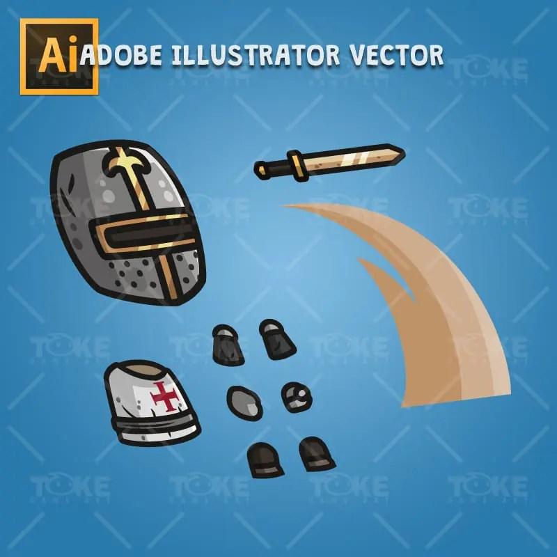 Templar Knight - Adobe Illustrator Vector Art Based Character Body Parts