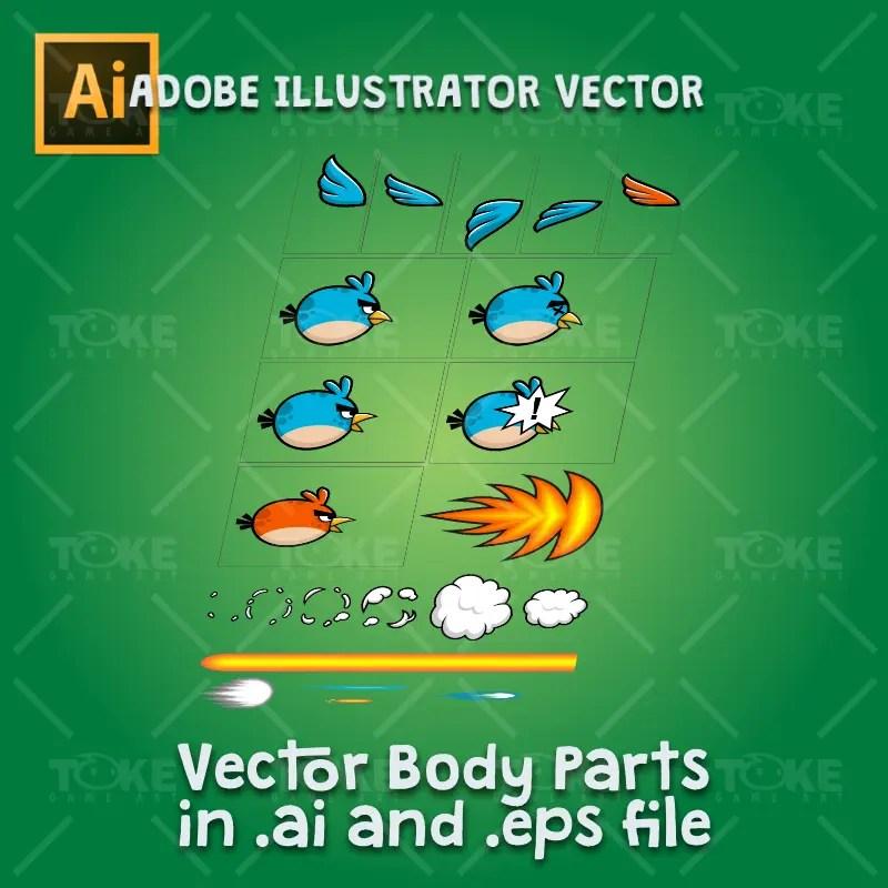 Blue enemy bird - Adobe Illustrator Vector Art Based