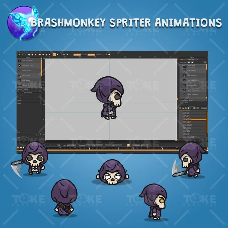 4 Directional Skeleton Knight - - Brashmonkey Spriter Character Animations