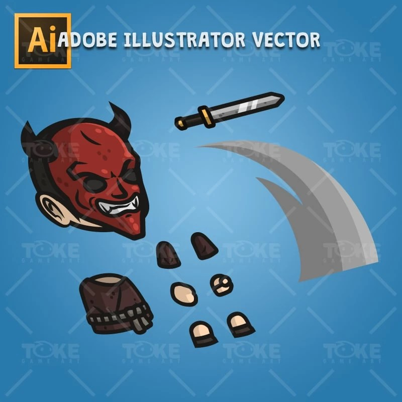 Devil Masked Guy - Adobe Illustrator Vector Art Based Character Body Parts
