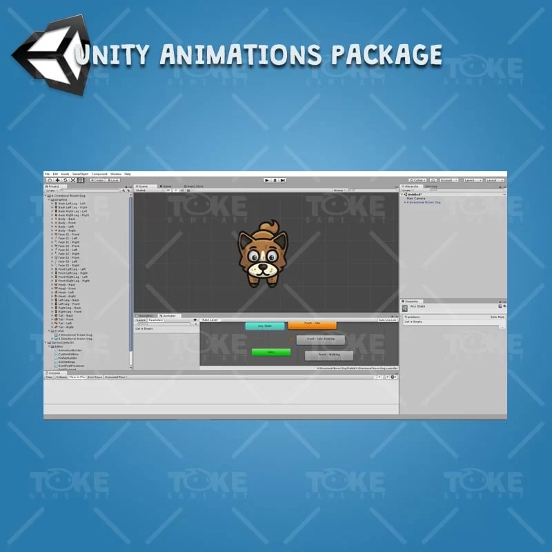 4 Directional Brown Dog - Unity Character Animation Ready with Spriter2UnityDX Tool