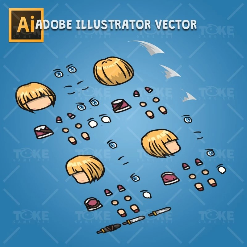 4 Directional Warrior Girl - Adobe Illustrator Vector Art Based Character Body Parts
