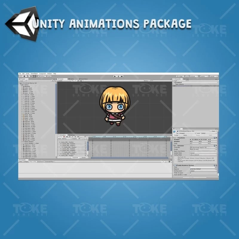 4 Directional Warrior Girl - Unity Character Animation Ready with Spriter2UnityDX Tool