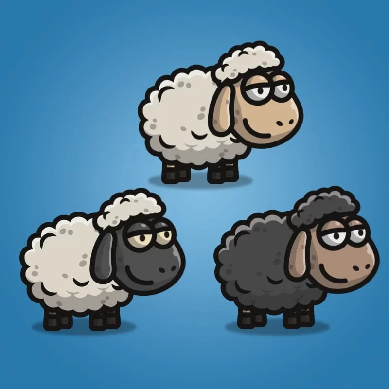 Cartoon Sheep - 2D Character Sprite for Indie Game Developer