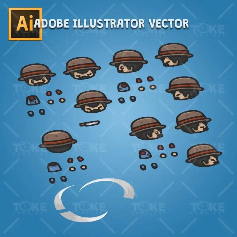 4 Directional Farmer Guy - Adobe Illustrator Vector Art Based Character Body Parts