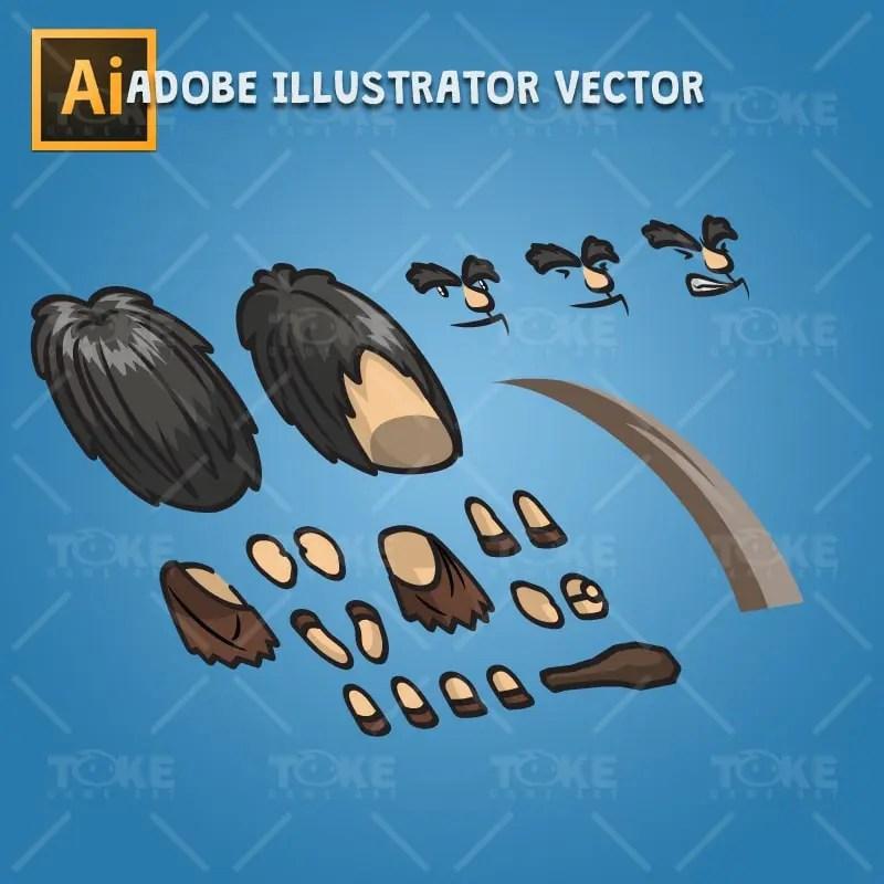 Caveman Guy - Adobe Illustrator Vector Art Based Character Body Parts
