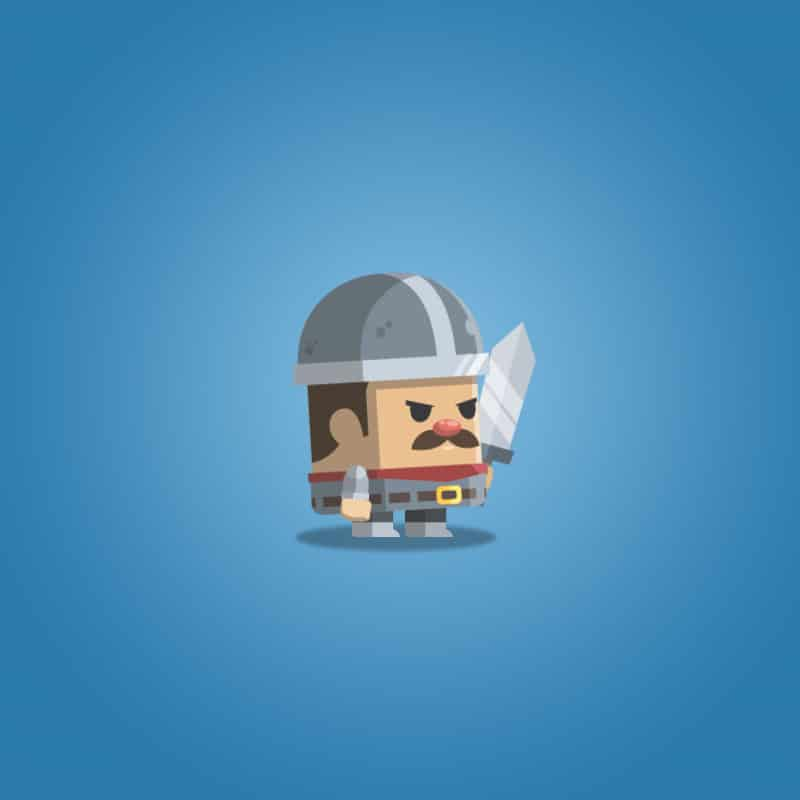 Flat Style Castle Guard - 2D Character Sprite